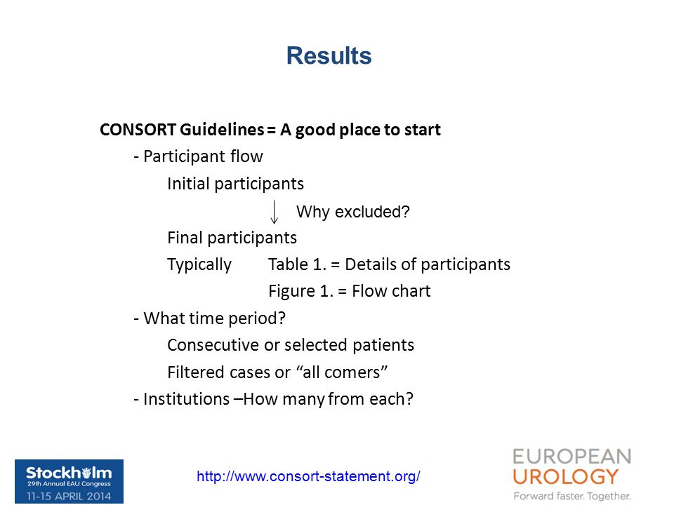 Results CONSORT Guidelines = A good place to start - Participant flow Initial participants Final participants Typically Table 1.