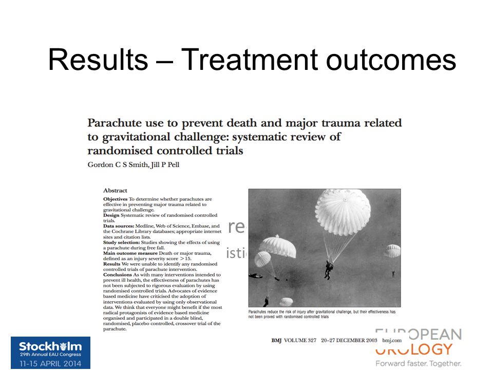 Results – Treatment outcomes Be precise …. Use Realistic outcomes