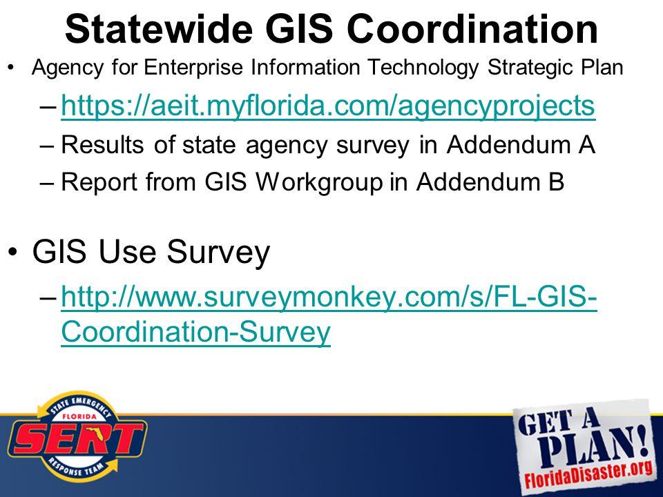 Agency for Enterprise Information Technology Strategic Plan –https://aeit.myflorida.com/agencyprojectshttps://aeit.myflorida.com/agencyprojects –Results of state agency survey in Addendum A –Report from GIS Workgroup in Addendum B GIS Use Survey –http://www.surveymonkey.com/s/FL-GIS- Coordination-Surveyhttp://www.surveymonkey.com/s/FL-GIS- Coordination-Survey Statewide GIS Coordination