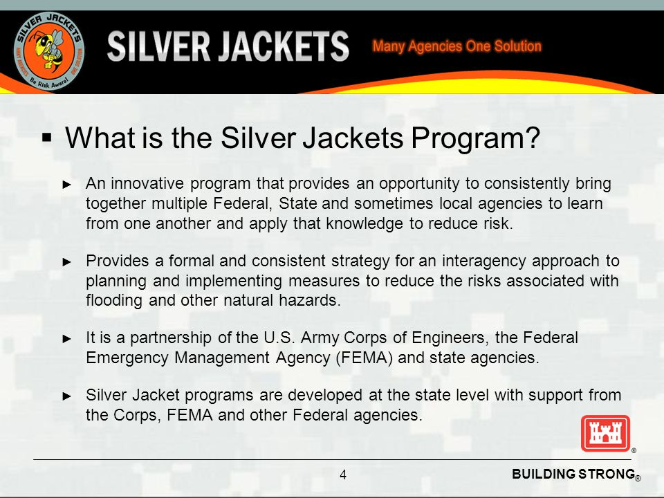 BUILDING STRONG ® Why Form a Silver Jacket Team Bottom Line Up Front (BLUF) Reduce Flood Risk to the Nation, through better coordination and collaboration across Programs within the Corps, and with other Federal, State, and Local Agencies.