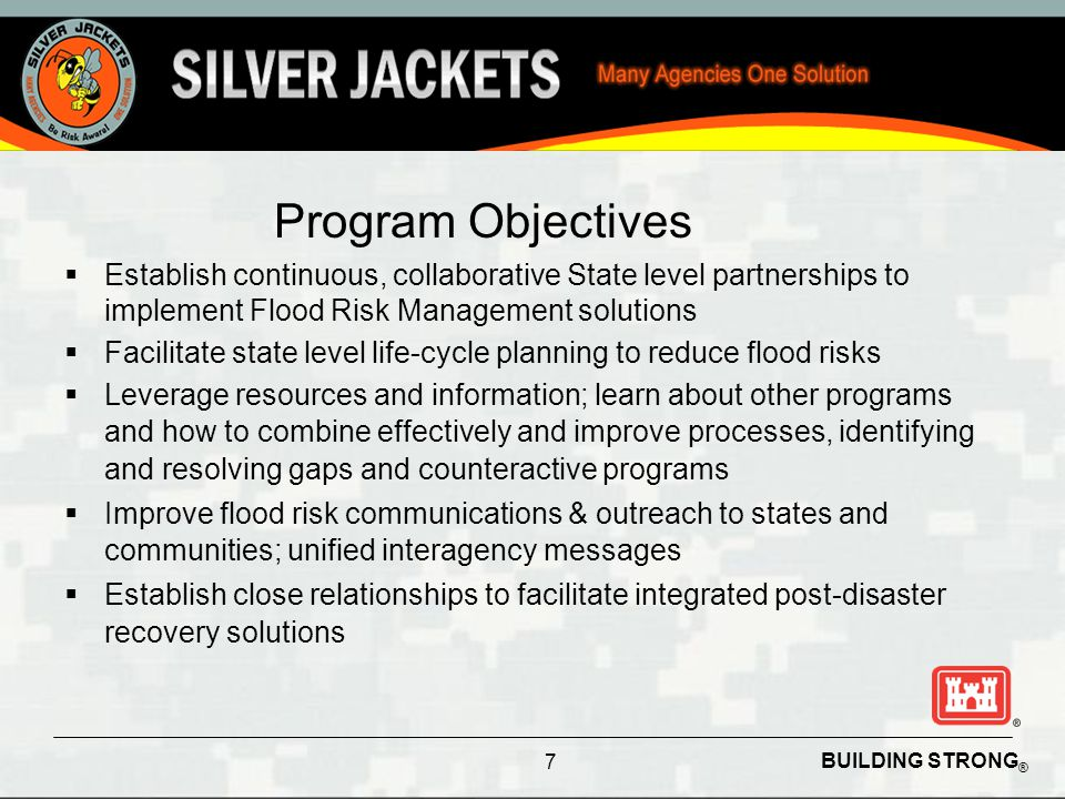 BUILDING STRONG ® Program Objectives  Establish continuous, collaborative State level partnerships to implement Flood Risk Management solutions  Fac
