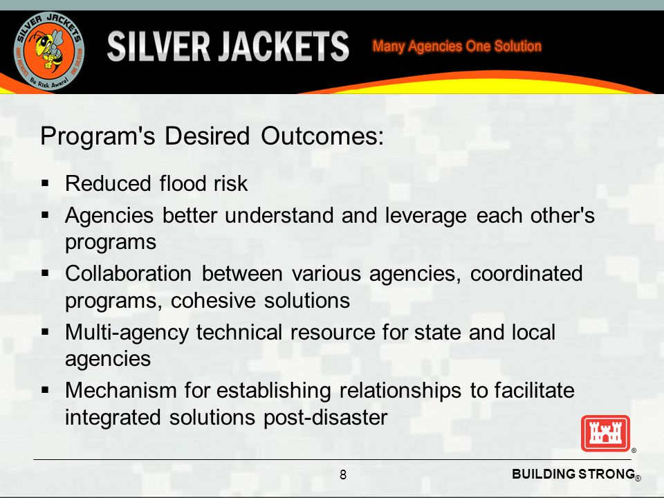 BUILDING STRONG ® Program Implementation  Silver Jackets framework is used to implement state level partnerships  Initially focus on states with opportunities for collaboration  Long term objective is to have teams operating in each state 9