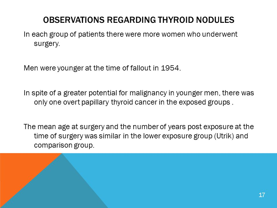 OBSERVATIONS REGARDING THYROID NODULES In each group of patients there were more women who underwent surgery. Men were younger at the time of fallout