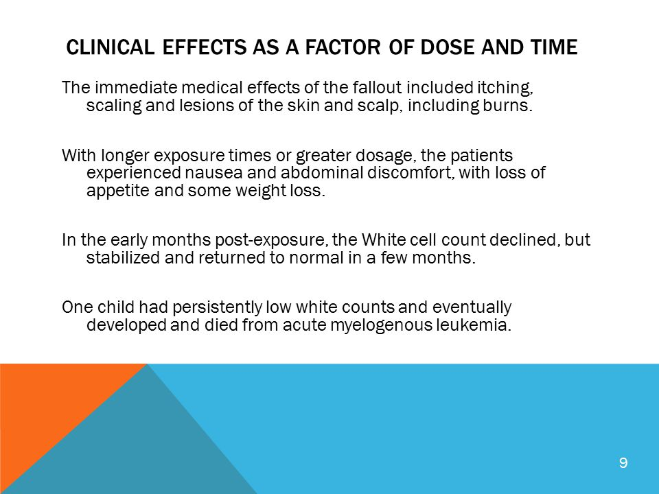 CLINICAL EFFECTS AS A FACTOR OF DOSE AND TIME The immediate medical effects of the fallout included itching, scaling and lesions of the skin and scalp, including burns.