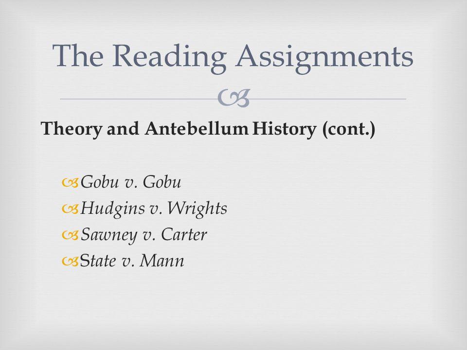  Theory and Antebellum History (cont.)  Gobu v. Gobu  Hudgins v.