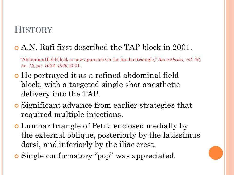 H ISTORY A.N.Rafi first described the TAP block in 2001.
