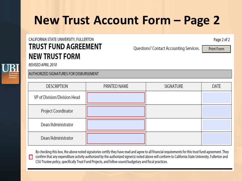 New Trust Account Form – Page 2