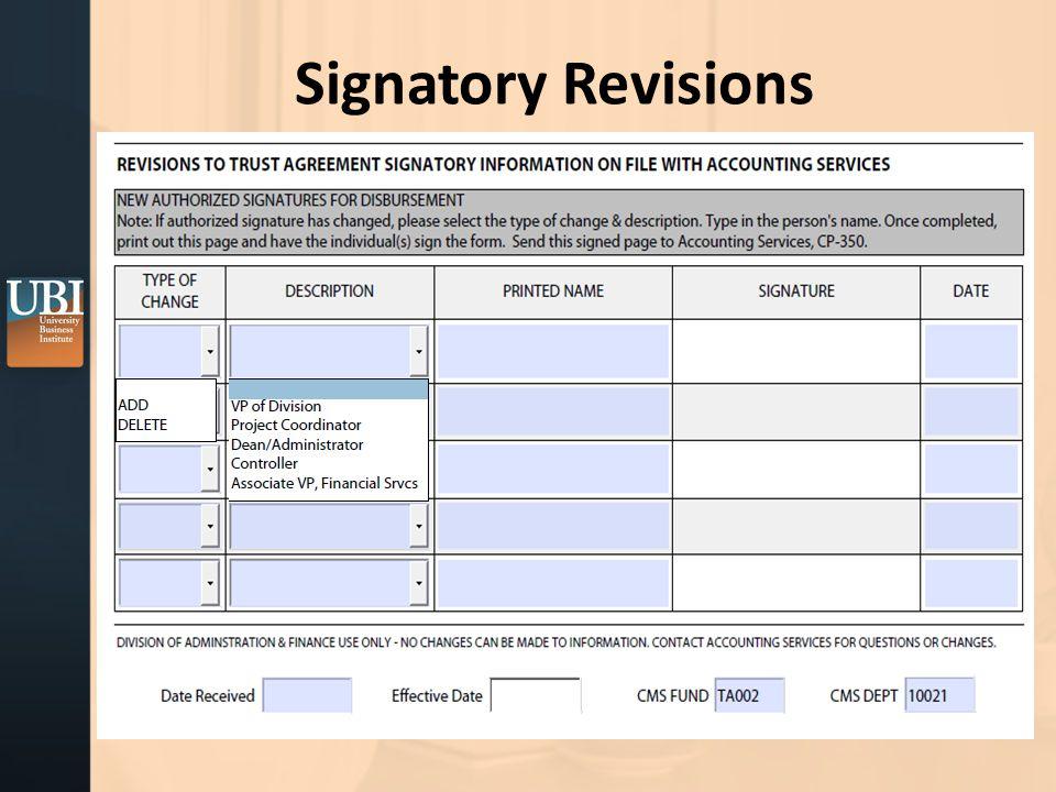 Signatory Revisions