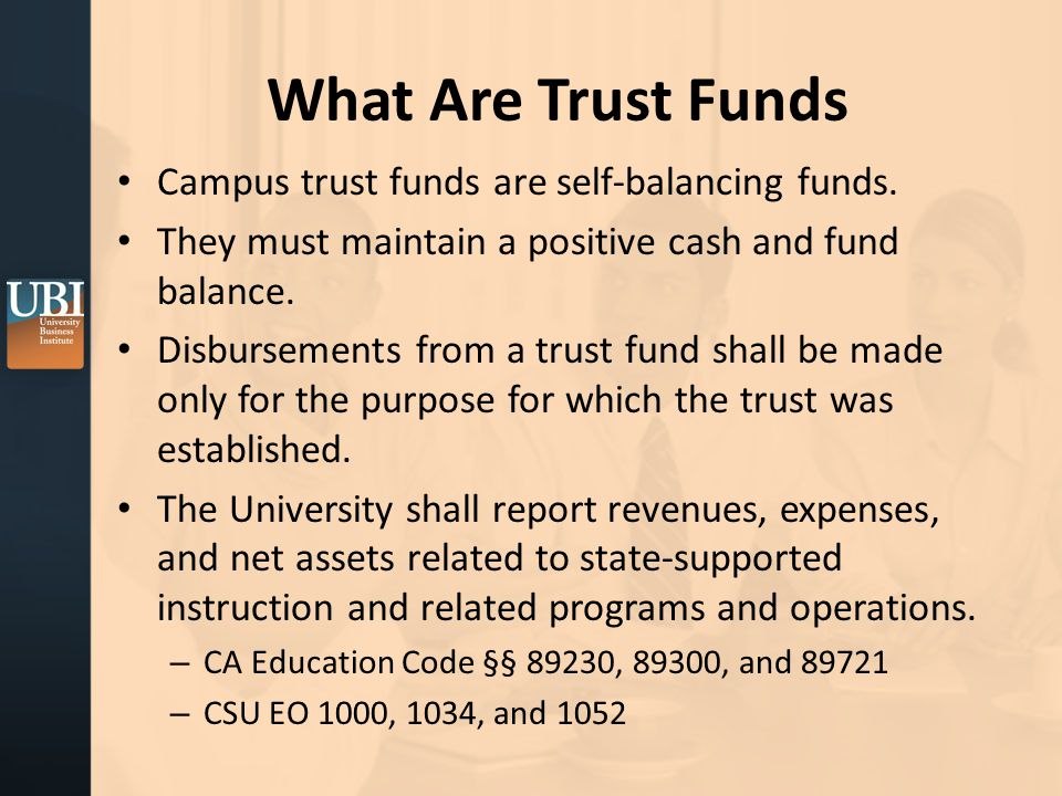 What Are Trust Funds Campus trust funds are self-balancing funds.