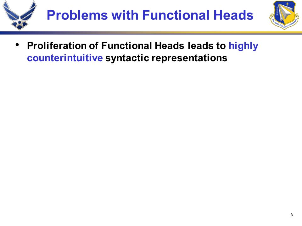 8 Problems with Functional Heads Proliferation of Functional Heads leads to highly counterintuitive syntactic representations