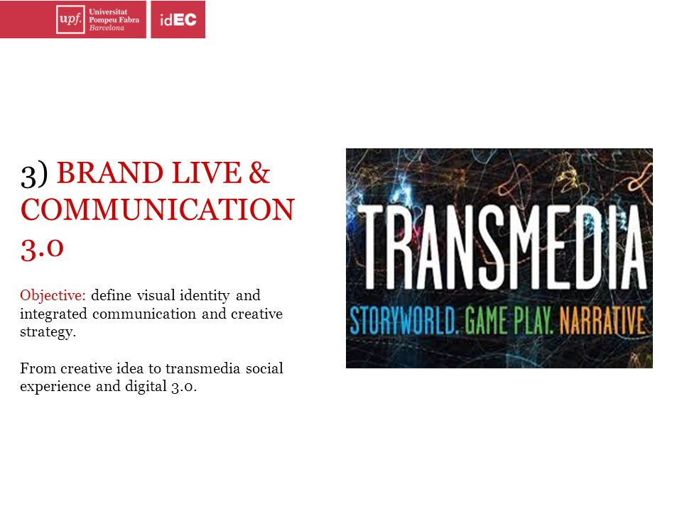 3) BRAND LIVE & COMMUNICATION 3.0 Objective: define visual identity and integrated communication and creative strategy. From creative idea to transmed