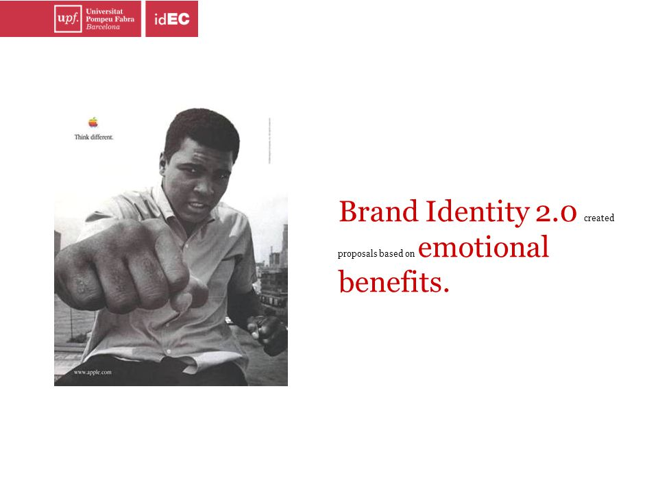 Brand Identity 2.0 created proposals based on emotional benefits.