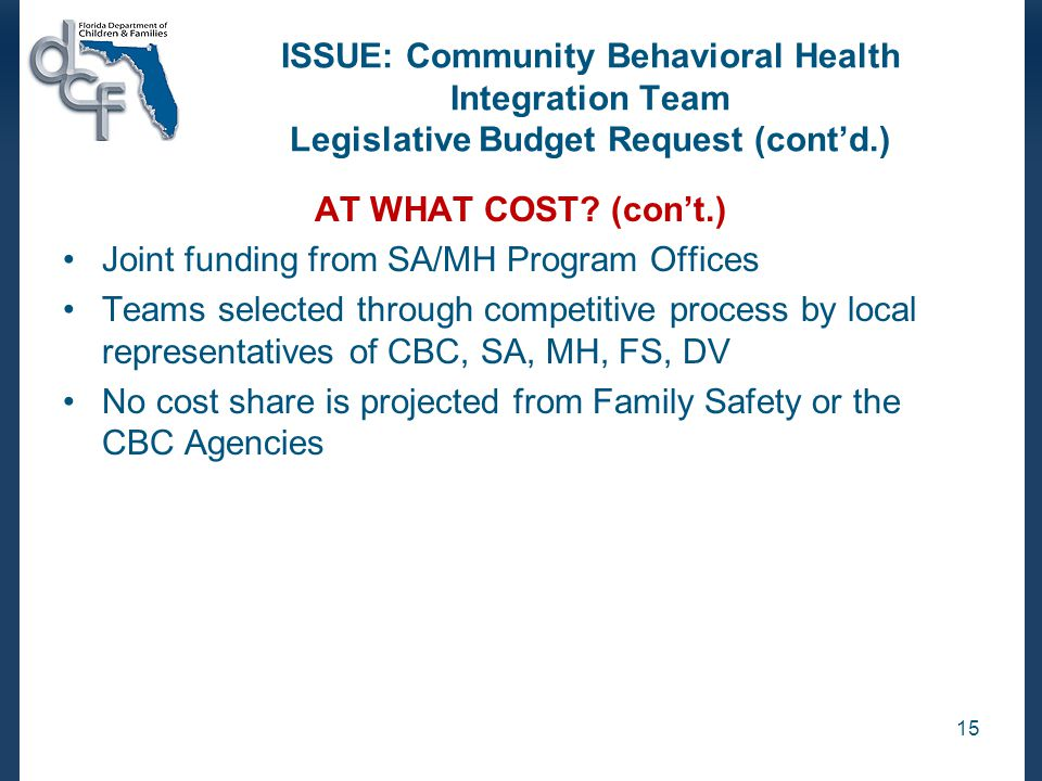 ISSUE: Community Behavioral Health Integration Team Legislative Budget Request (cont'd.) AT WHAT COST.
