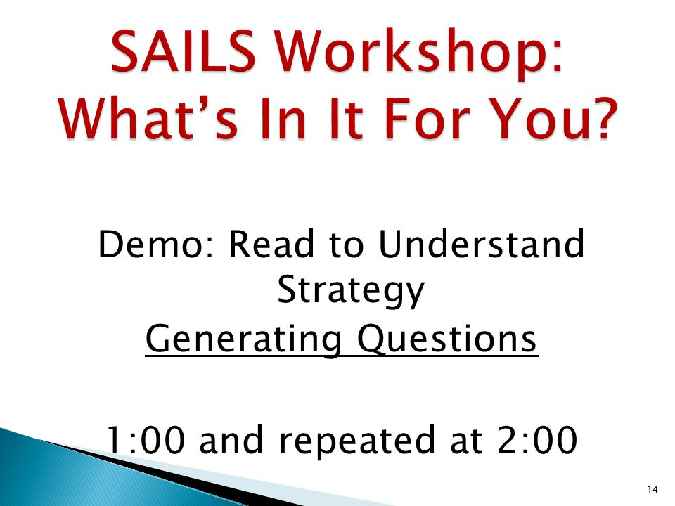 Demo: Read to Understand Strategy Generating Questions 1:00 and repeated at 2:00 14