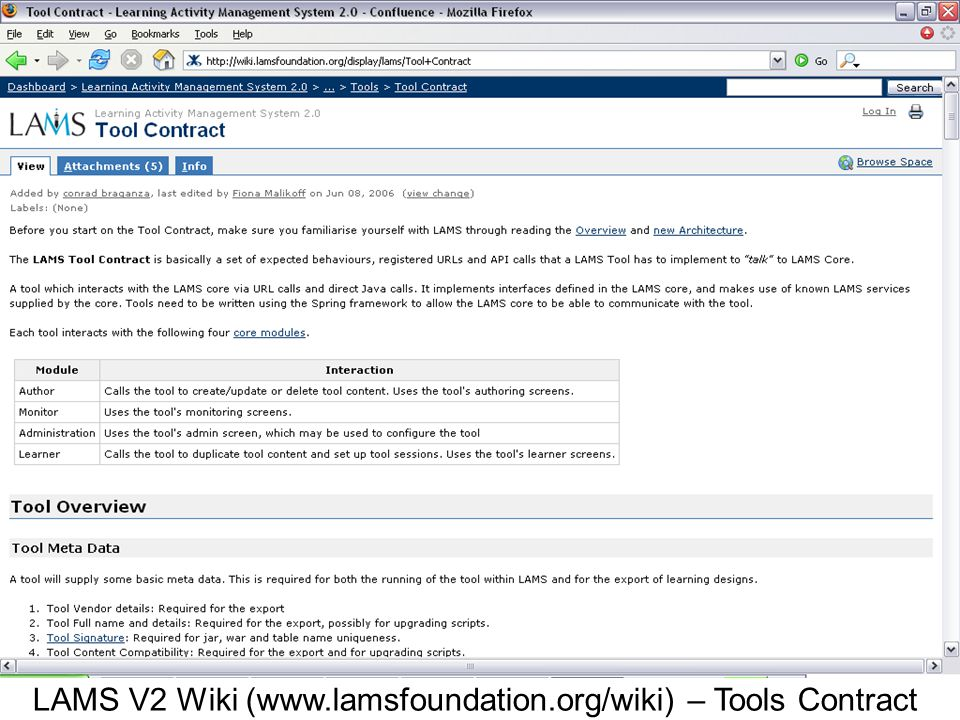 LAMS V2 Wiki (www.lamsfoundation.org/wiki) – Tools Contract
