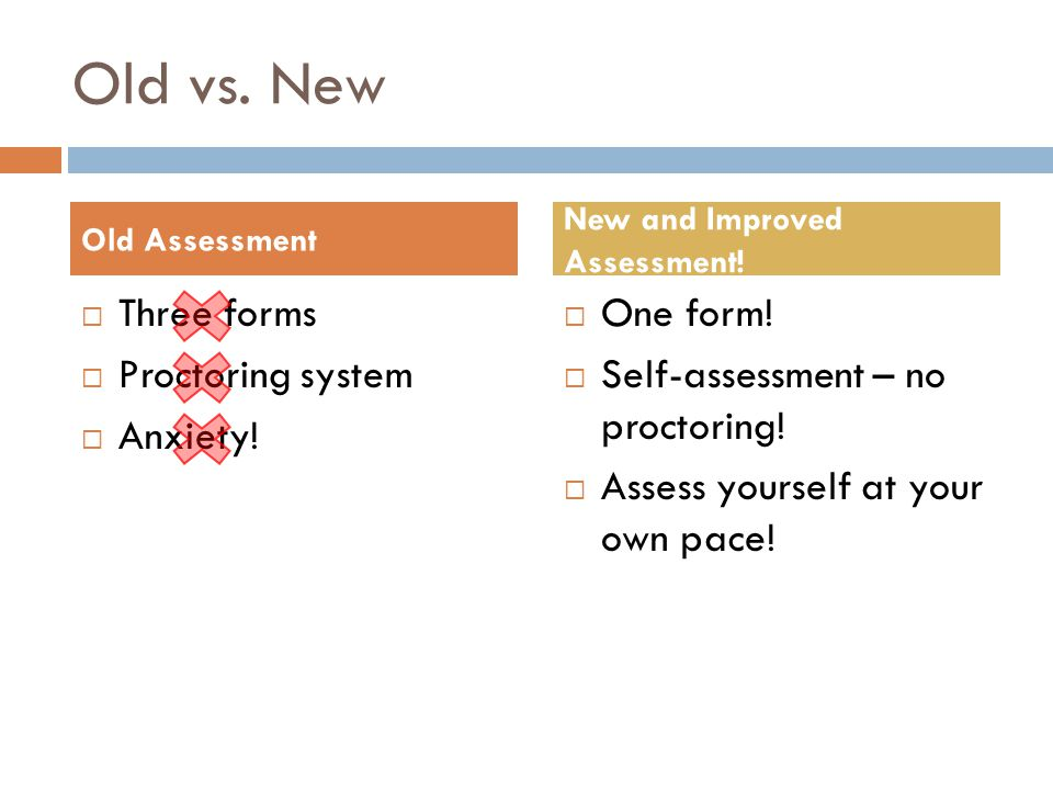 Old vs. New  Three forms  Proctoring system  Anxiety!  One form!  Self-assessment – no proctoring!  Assess yourself at your own pace! Old Assess