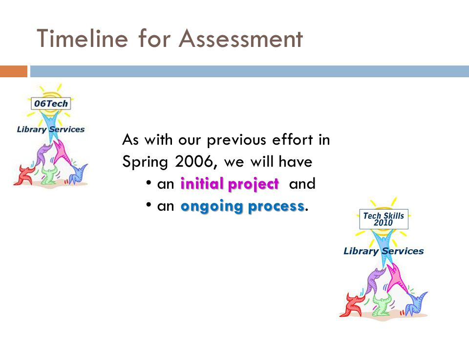 Timeline for Assessment As with our previous effort in Spring 2006, we will have initial project an initial project and ongoing process an ongoing pro