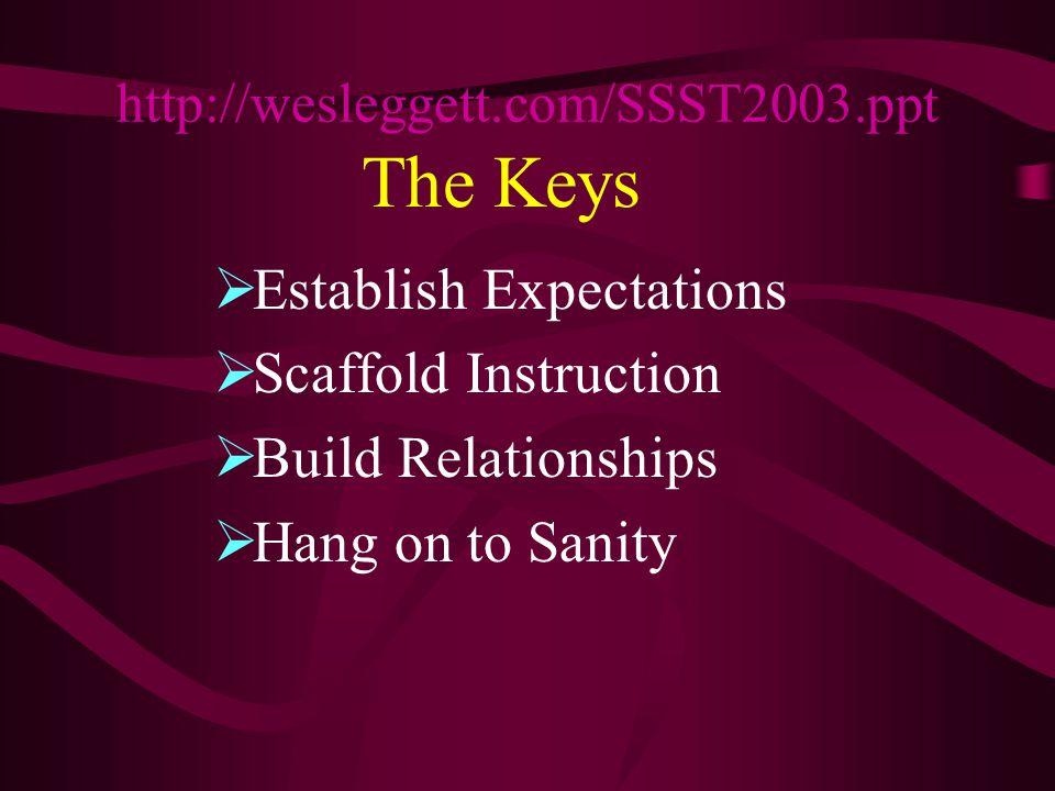 The Keys  Establish Expectations  Scaffold Instruction  Build Relationships  Hang on to Sanity http://wesleggett.com/SSST2003.ppt