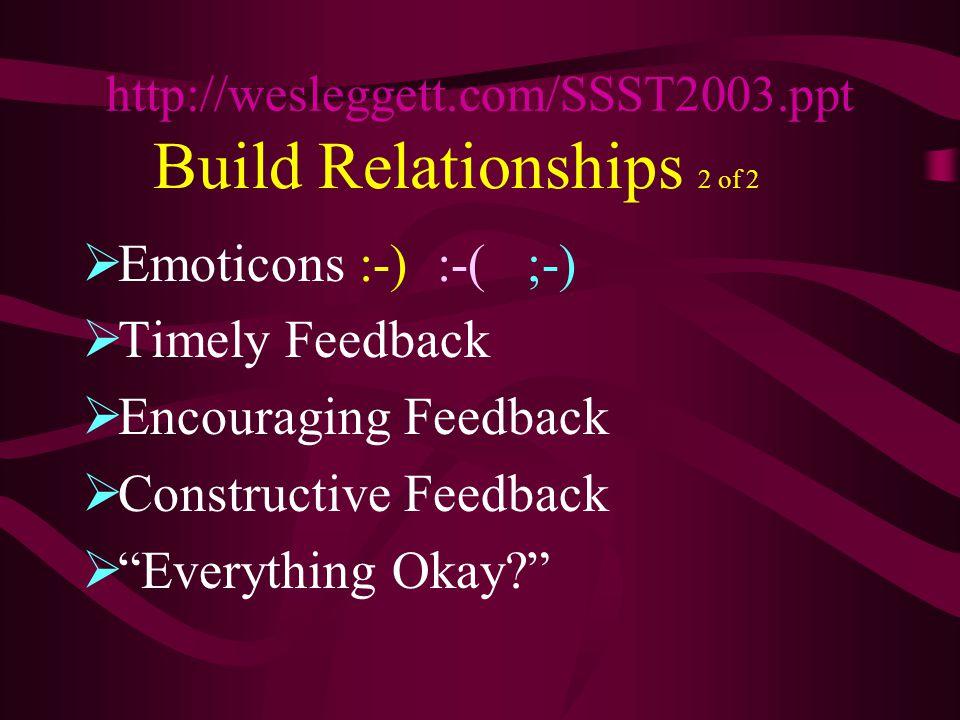 Build Relationships 2 of 2  Emoticons :-) :-( ;-)  Timely Feedback  Encouraging Feedback  Constructive Feedback  Everything Okay http://wesleggett.com/SSST2003.ppt
