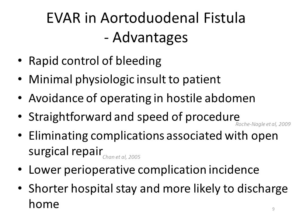 EVAR in Aortoduodenal Fistula - Advantages Rapid control of bleeding Minimal physiologic insult to patient Avoidance of operating in hostile abdomen S