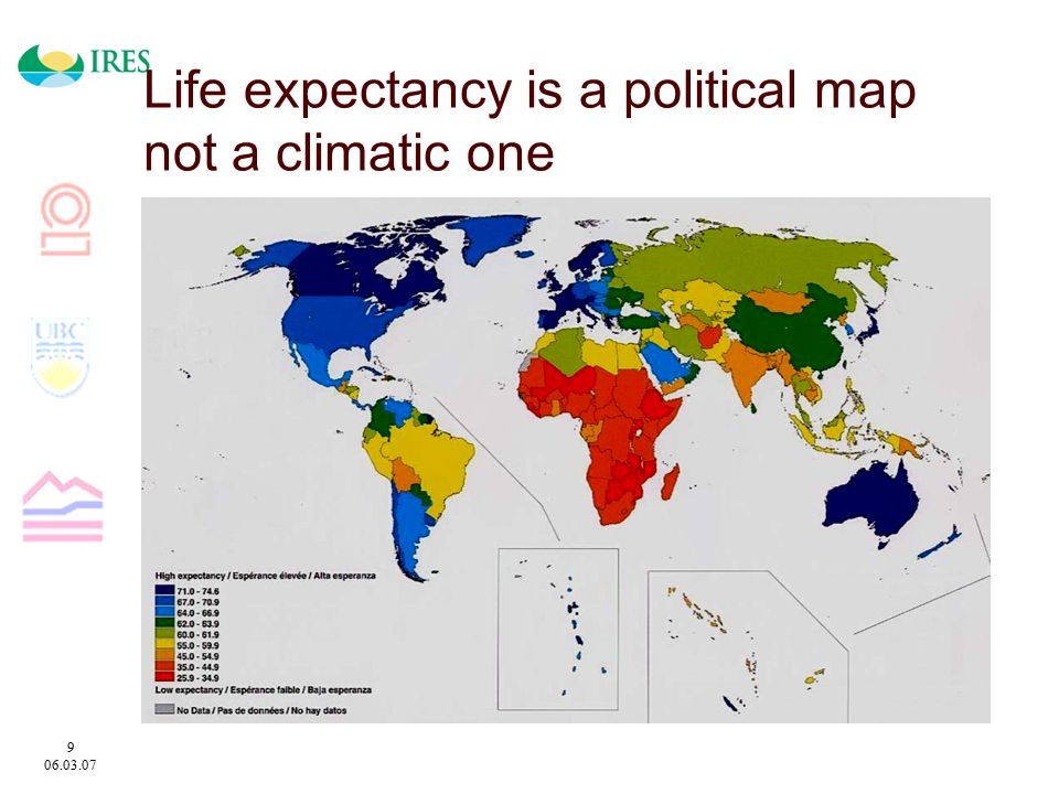 9 06.03.07 Life expectancy is a political map not a climatic one