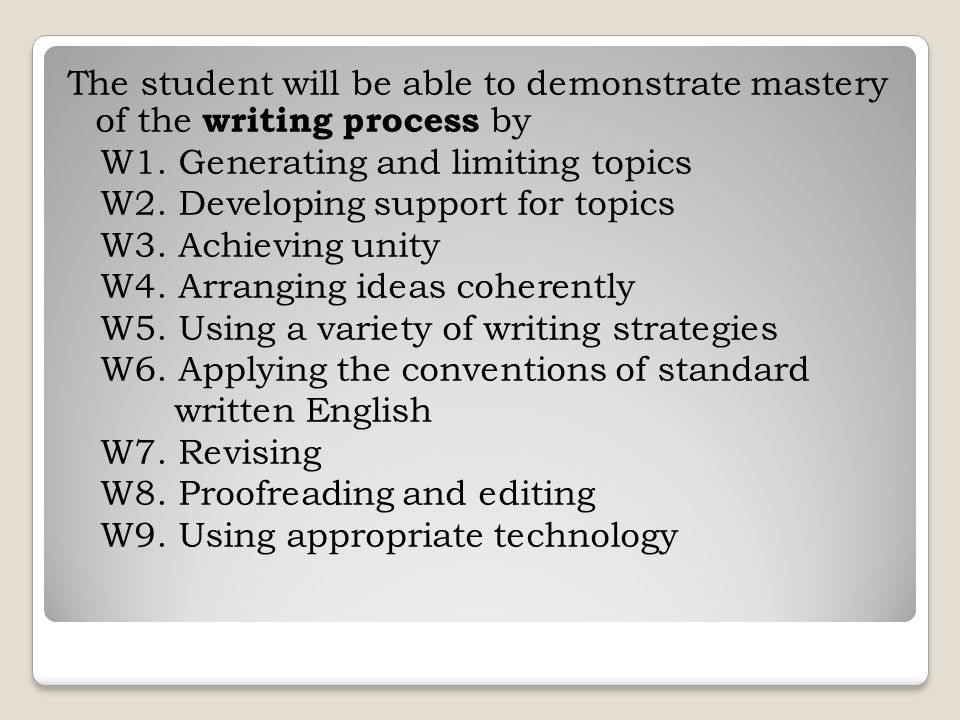 The student will be able to demonstrate mastery of the writing process by W1. Generating and limiting topics W2. Developing support for topics W3. Ach