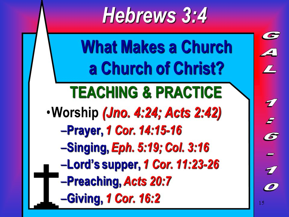 15 What Makes a Church a Church of Christ. TEACHING & PRACTICE Worship (Jno.