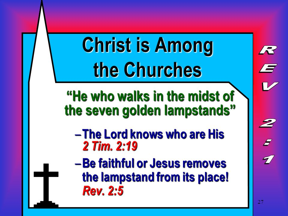 27 Christ is Among the Churches He who walks in the midst of the seven golden lampstands – The Lord knows who are His 2 Tim.