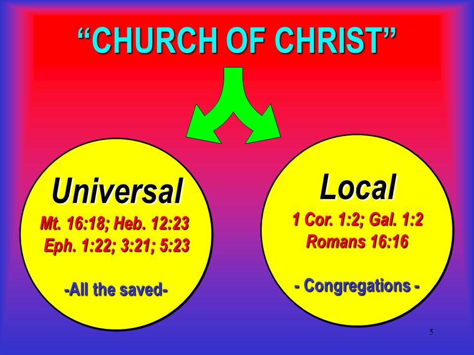 6 Christ and His Church What makes a church a church of Christ.