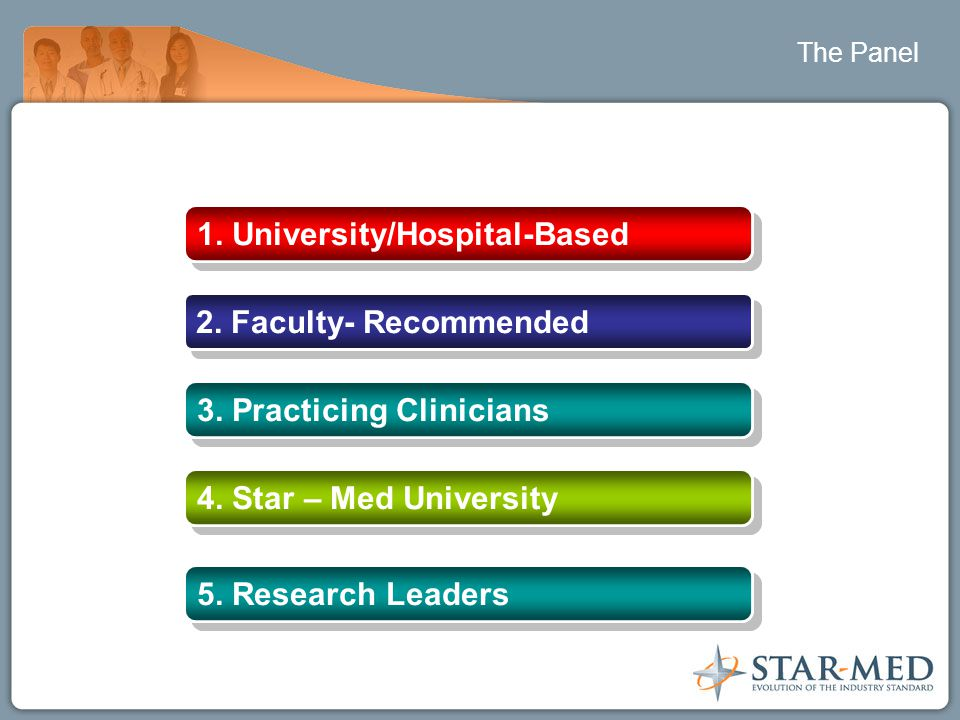 The Panel 1. University/Hospital-Based 2. Faculty- Recommended 3. Practicing Clinicians 4. Star – Med University 5. Research Leaders