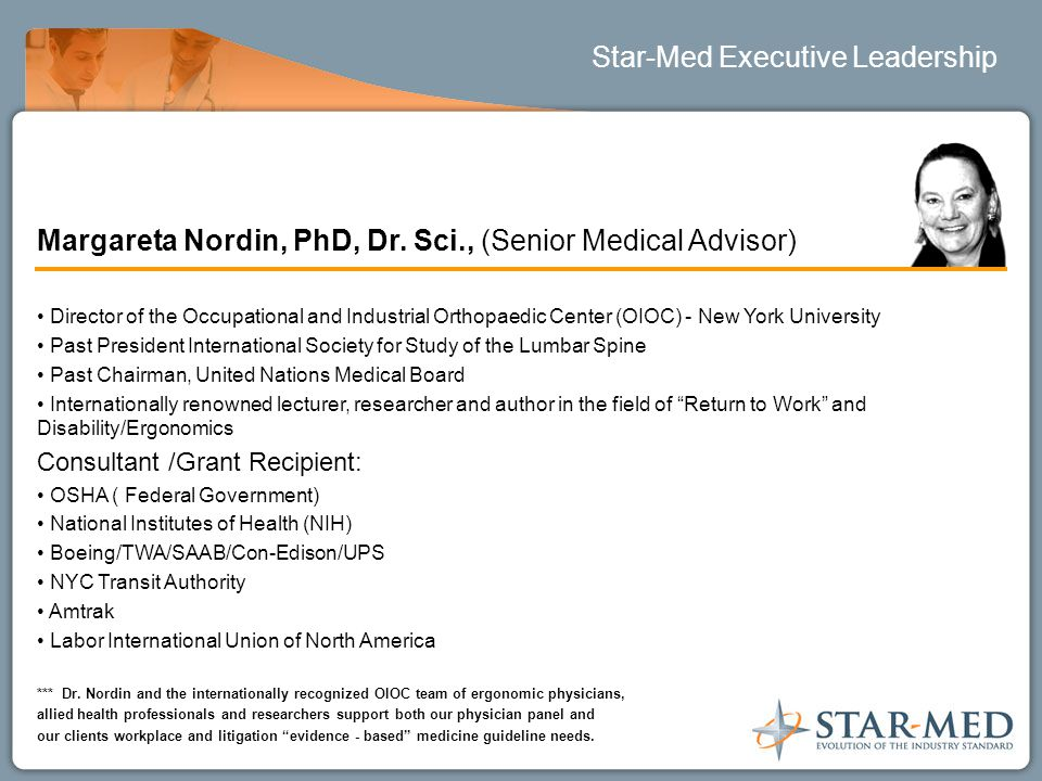 Star-Med Executive Leadership Margareta Nordin, PhD, Dr.