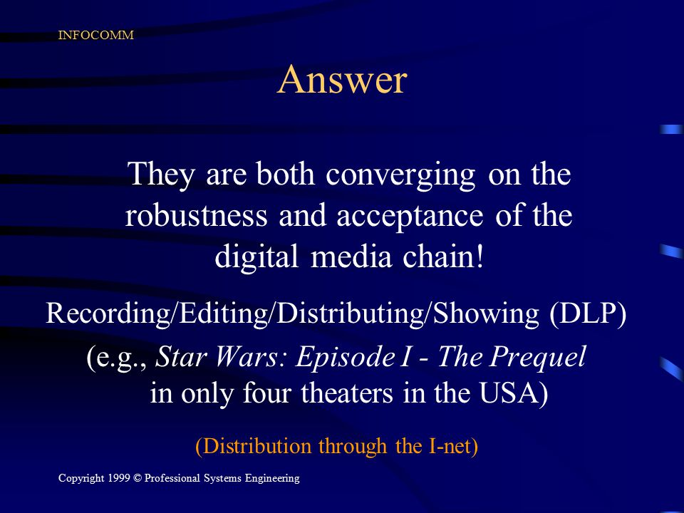 INFOCOMM Copyright 1999 © Professional Systems Engineering Answer They are both converging on the robustness and acceptance of the digital media chain
