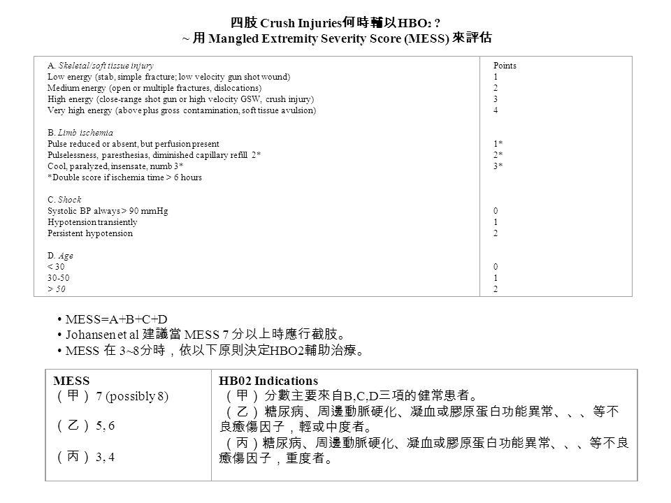 四肢 Crush Injuries 何時輔以 HBO 2 ? ~ 用 Mangled Extremity Severity Score (MESS) 來評估 A. Skeletal/soft tissue injury Low energy (stab, simple fracture; low v
