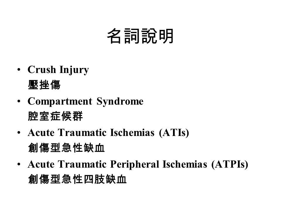 名詞說明 Crush Injury 壓挫傷 Compartment Syndrome 腔室症候群 Acute Traumatic Ischemias (ATIs) 創傷型急性缺血 Acute Traumatic Peripheral Ischemias (ATPIs) 創傷型急性四肢缺血
