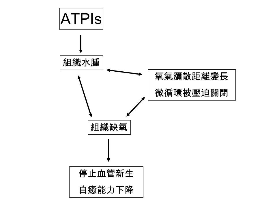 組織水腫 氧氣瀰散距離變長 微循環被壓迫關閉 組織缺氧 ATPIs 停止血管新生 自癒能力下降