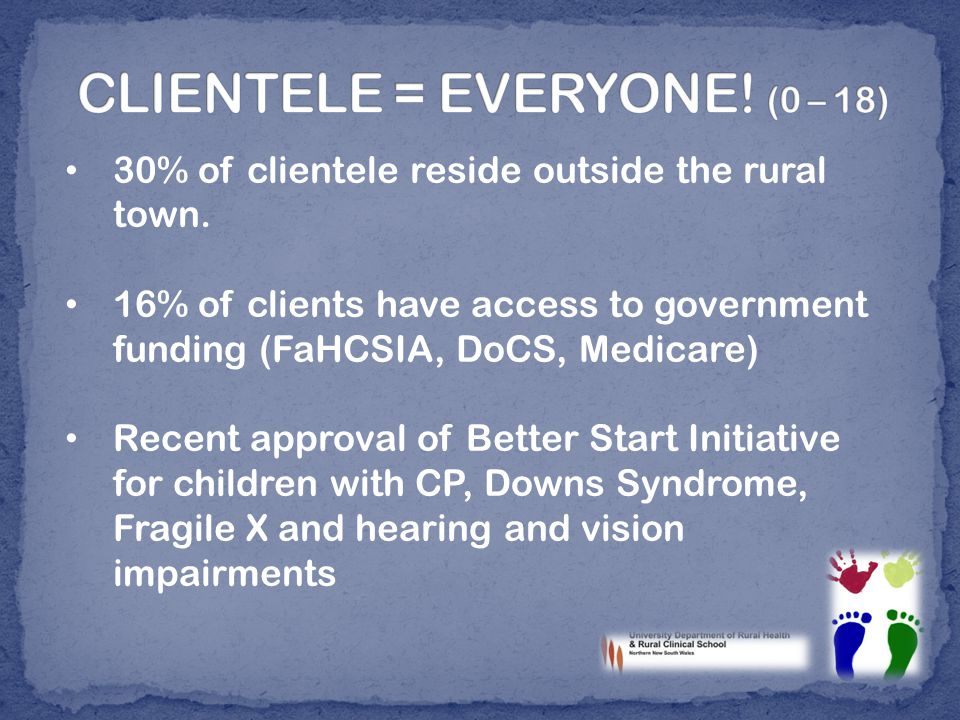 30% of clientele reside outside the rural town.