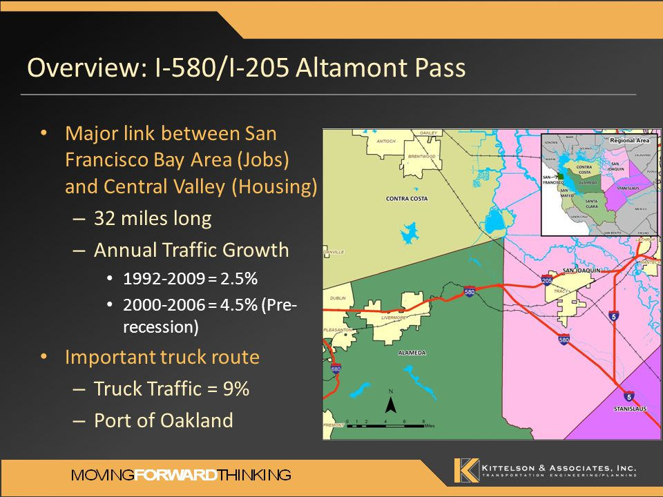 Logical Next Steps Incorporate the county specific GHG emission reductions for participating counties and re-compute SB375 GHG Target metric (per capita GHG emissions) Base I-580 freeway operations analysis on simulation versus static HCM to provide a more direct comparison with the I-580 CSMP (i.e., added increment of operational improvement resulting from interregional employer based TDM, goods movement strategies and transit).