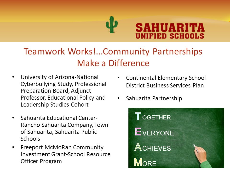 Teamwork Works!...Community Partnerships Make a Difference University of Arizona-National Cyberbullying Study, Professional Preparation Board, Adjunct Professor, Educational Policy and Leadership Studies Cohort Sahuarita Educational Center- Rancho Sahuarita Company, Town of Sahuarita, Sahuarita Public Schools Freeport McMoRan Community Investment Grant-School Resource Officer Program Continental Elementary School District Business Services Plan Sahuarita Partnership OGETHER VERYONE CHIEVES ORE