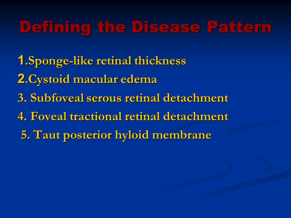Defining the Disease Pattern 1.Sponge-like retinal thickness 2.Cystoid macular edema 3.