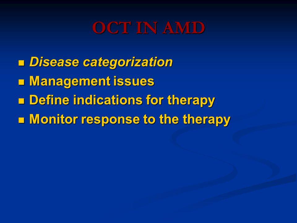 OCT IN AMD Disease categorization Disease categorization Management issues Management issues Define indications for therapy Define indications for therapy Monitor response to the therapy Monitor response to the therapy