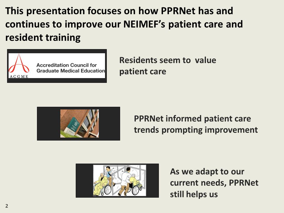 13 Nevertheless, PPRNet has helped promote the breadth of skills residents need as physicians Communication Professionalism System Based Practice Practice Based Learning and Improvement Medical Knowledge Patient Care