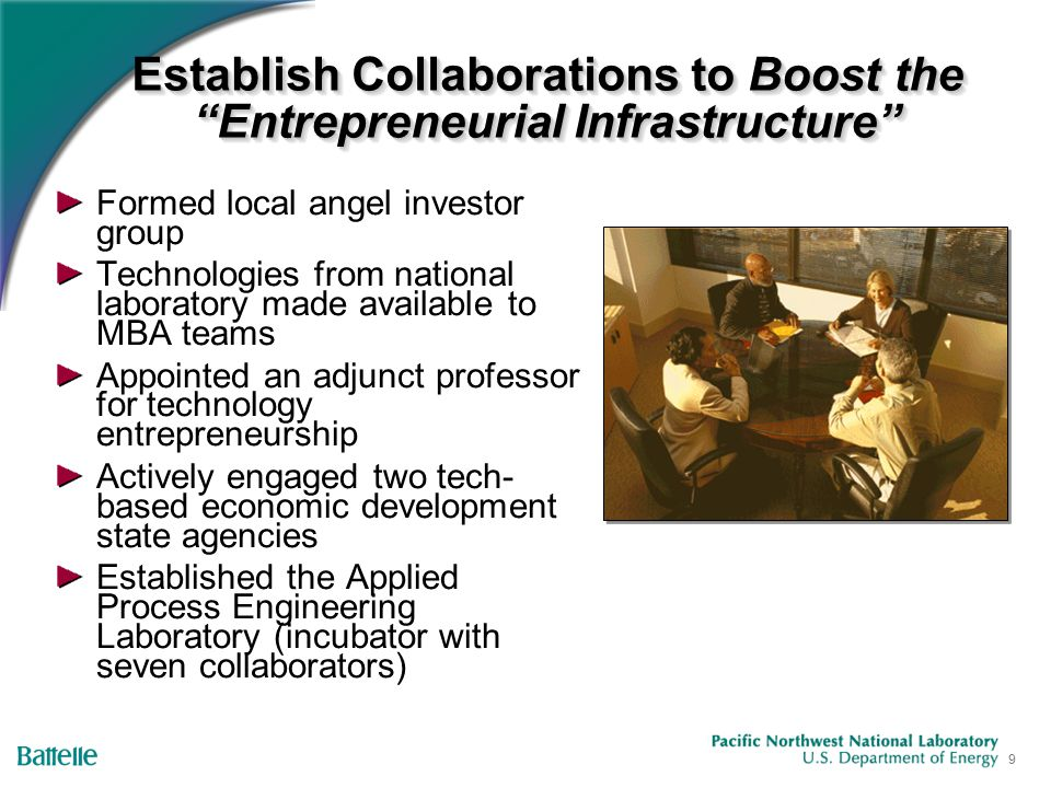 9 Establish Collaborations to Boost the Entrepreneurial Infrastructure Formed local angel investor group Technologies from national laboratory made available to MBA teams Appointed an adjunct professor for technology entrepreneurship Actively engaged two tech- based economic development state agencies Established the Applied Process Engineering Laboratory (incubator with seven collaborators)