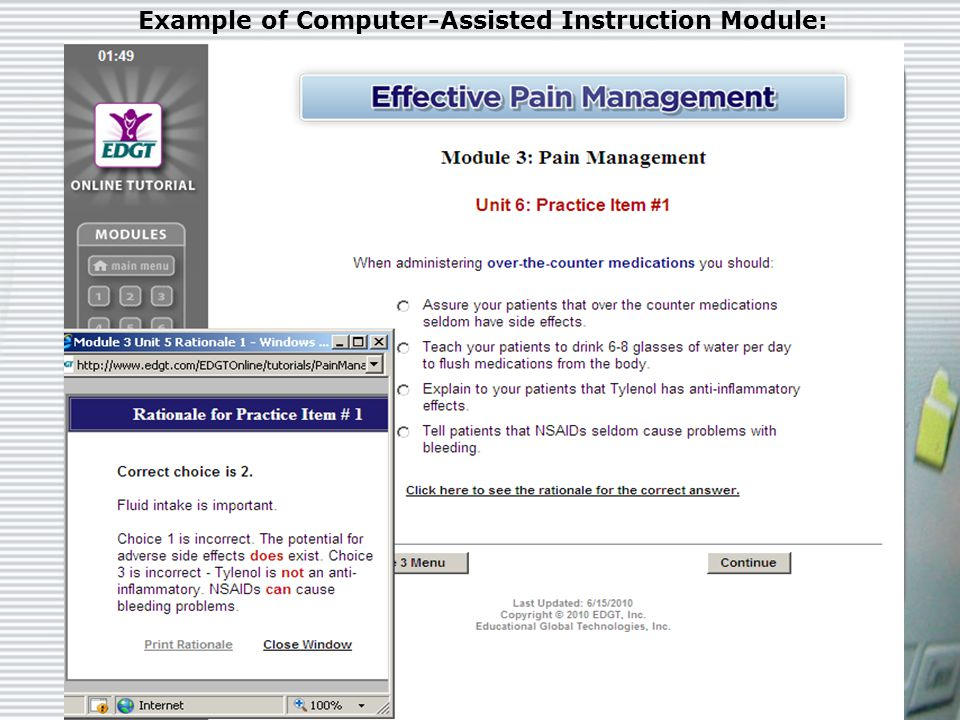 CAI | Teaching Strategy Example of Computer-Assisted Instruction Module: