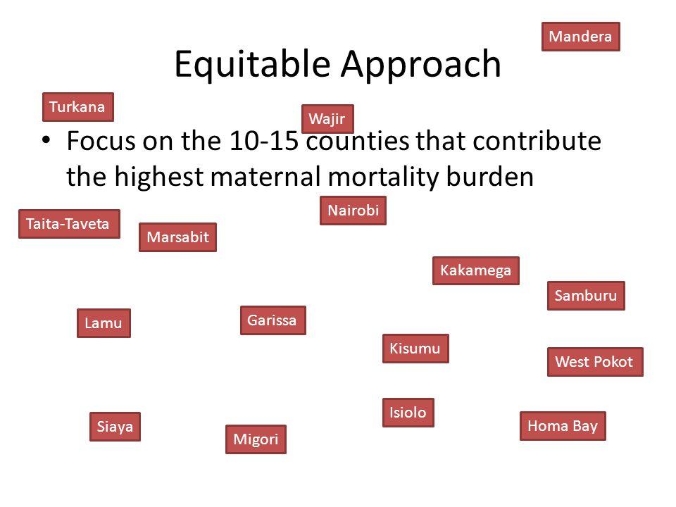 Equitable Approach Focus on the 10-15 counties that contribute the highest maternal mortality burden Turkana Lamu Migori Siaya Isiolo Marsabit Nairobi Samburu Wajir Taita-Taveta Garissa Homa Bay Kisumu West Pokot Kakamega Mandera