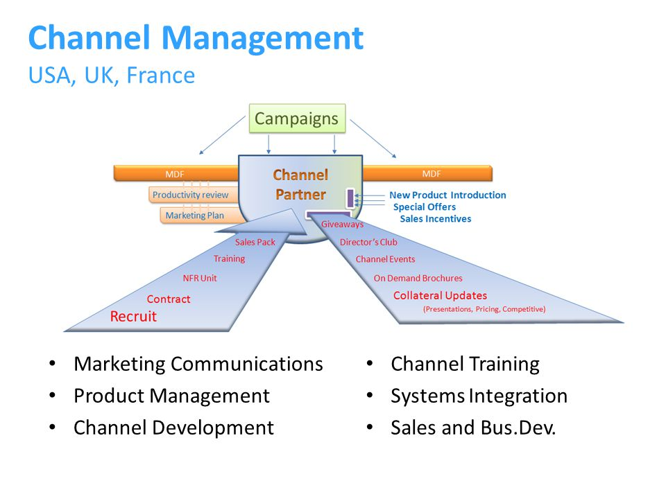 Channel Management USA, UK, France Marketing Communications Product Management Channel Development Channel Training Systems Integration Sales and Bus.Dev.