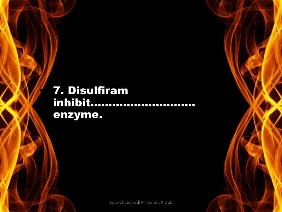 7. Disulfiram inhibit……………………….. enzyme. Aditi Chaturvedi + Hemant K Dutt