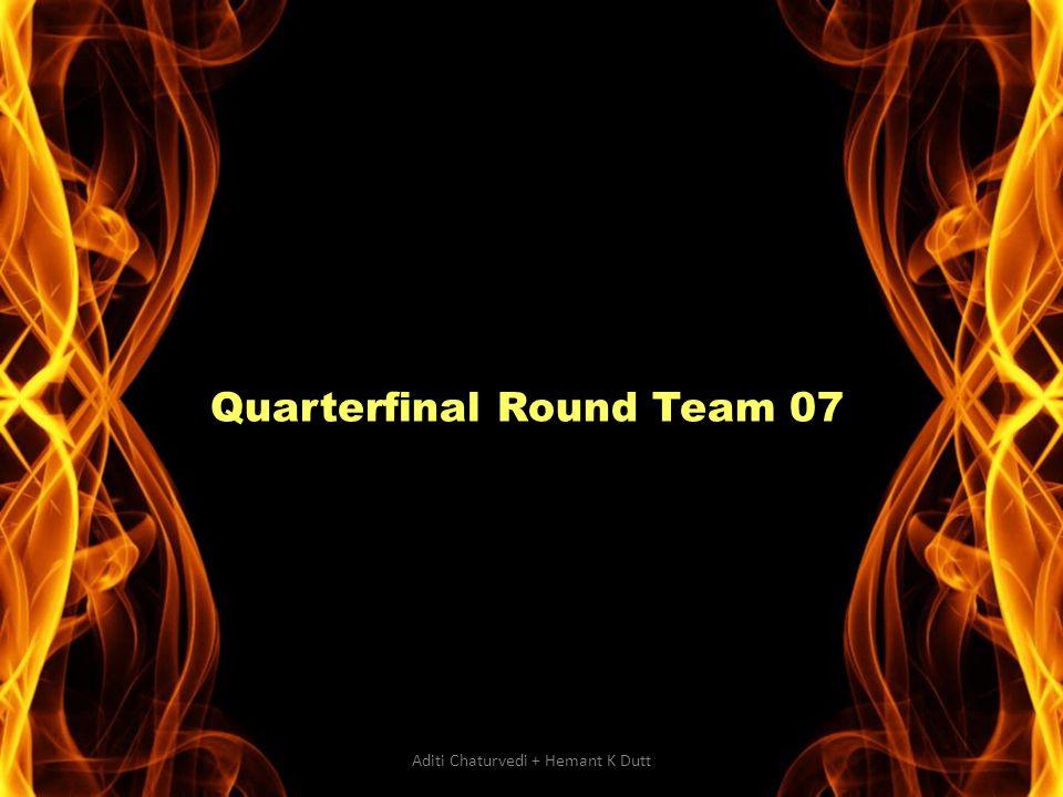 Quarterfinal Round Team 07 Aditi Chaturvedi + Hemant K Dutt
