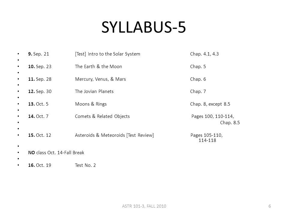 SYLLABUS-5 9. Sep. 21[Test] Intro to the Solar SystemChap.