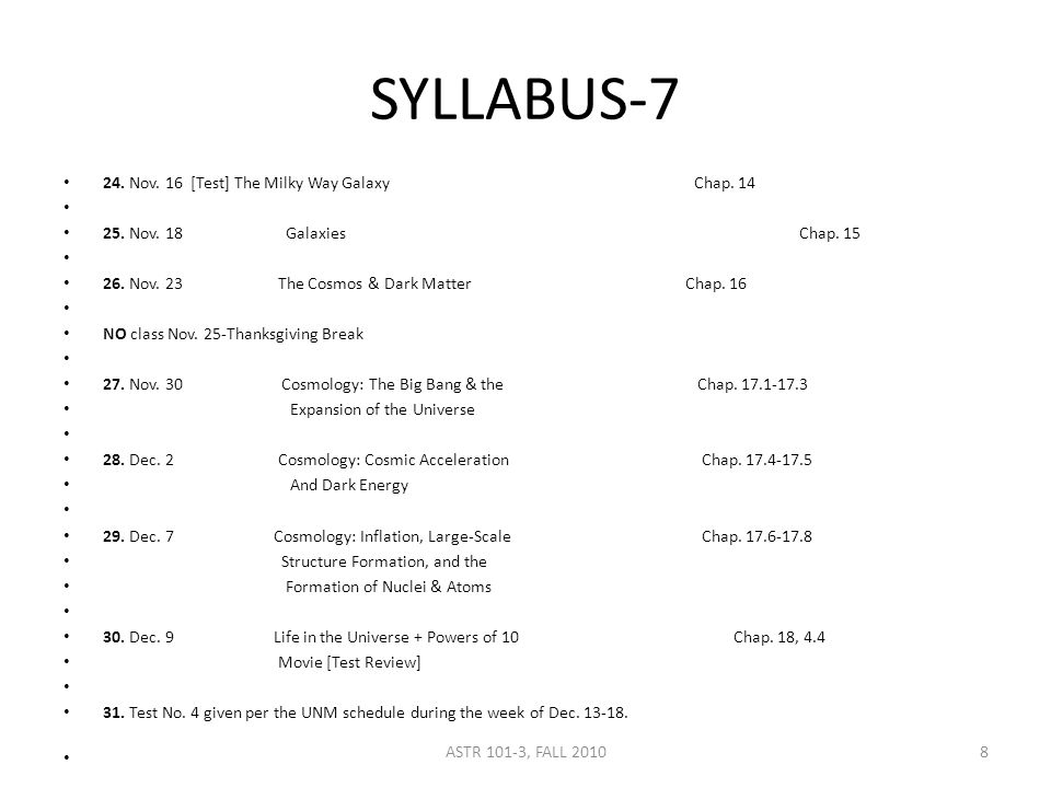 SYLLABUS-7 24. Nov. 16 [Test] The Milky Way GalaxyChap.