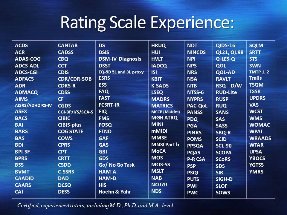 Rating Scale Experience: ACDS ACR ADAS-COG ADCS-ADL ADCS-CGI ADFACS ADR ADMACQ AIMS AISRS/ADHD RS-IV ASEX BACS BAI BARS BAS BDI BPI-SF BPRS BSS BVMT CAADID CAARS CAI CANTAB CADSS CBQ CCT CDIS CDR/CDR-SOB CDRS-R CDSS CF CGDS CGI-BP/I/S/SCA-S CIBIC CIBIS-plus COG STATE COWS CPRS CPT CRTT CSDD C-SSRS DAD DCSQ DESS DS DSIS DSM-IV Diagnosis DSST EQ-5D 5L and 3L proxy ESRS ESS FAQ FAST FCSRT-IR FIQ FMS FOSQ FTND GAF GAS GBI GDS Go/ No Go Task HAM-A HAM-D HIS Hoehn & Yahr HRUQ HUI HVLT IADCQ ISI KBIT K-SADS LSEQ MADRS MATRICS MCCB (Matrics) MGH ATRQ MINI mMIDI MMSE MNSI Part b MoCA MOS MOS-SS MSLT NAB NC070 NDS NDT NINCDS NPI NPS NRS NSA NTB NTSS-6 NYPRS PAC-QoL PANSS PDQ PGA PINRS POMS PPSQA PQAS P-R CSA PSP PSQI PUTS PWI PWC QIDS-16 QL21, QL 98 Q-LES-Q QOL QOL-AD RAVLT RSQ – D/W RUD-Lite RUSP RUQ SANS SAS SASS SBQ-R SCID SCL-90 SCOPA SCoRS SDS SIB SIGH-D SLOF SOWS SQLM SRTT STS SWN TMTP 1, 2 Trails TSQM TSSR UPDRS VAS WCST WMS WOMAC WPAI WRAADS WTAR UPSA YBOCS YGTSS YMRS Certified, experienced raters, including M.D., Ph.D.